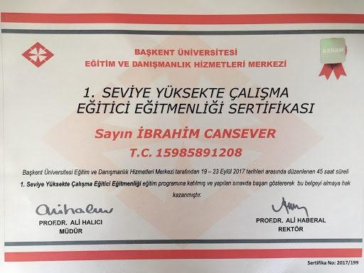 yüksekte çalışma eğitici belgesi İbrahim Cansever